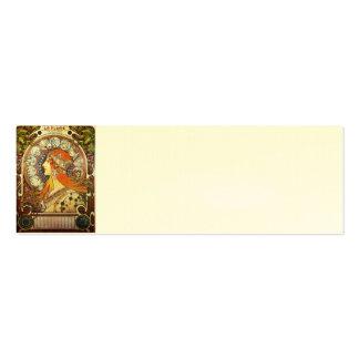 Alphonse Mucha La Plume Zodiac Art Nouveau Vintage Business Card Template