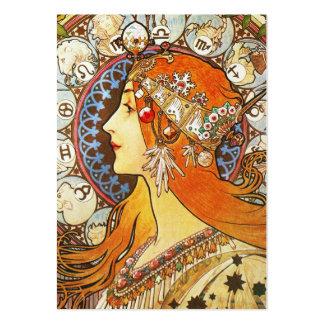 Alphonse Mucha La Plume Zodiac Art Nouveau Vintage Large Business Cards (Pack Of 100)