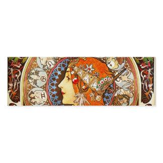 Alphonse Mucha La Plume Zodiac Art Nouveau Vintage Business Card