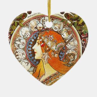 Alphonse Mucha La Plume Zodiac Art Nouveau Vintage Christmas Ornament