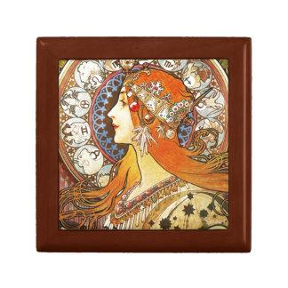 Alphonse Mucha La Plume Zodiac Art Nouveau Vintage Gift Box