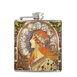Alphonse Mucha La Plume Zodiac Art Nouveau Vintage Hip Flask