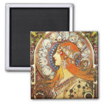 Alphonse Mucha La Plume Zodiac Art Nouveau Vintage Square Magnet