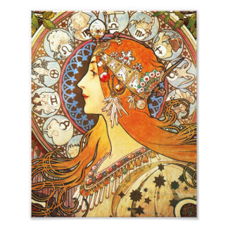 Alphonse Mucha La Plume Zodiac Art Nouveau Vintage Photo