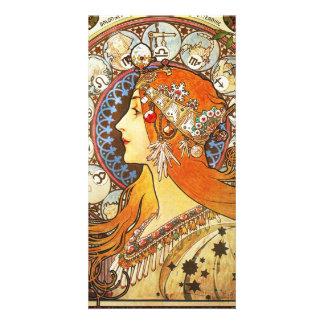 Alphonse Mucha La Plume Zodiac Art Nouveau Vintage Personalized Photo Card