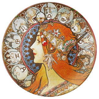Alphonse Mucha La Plume Zodiac Art Nouveau Vintage Plate