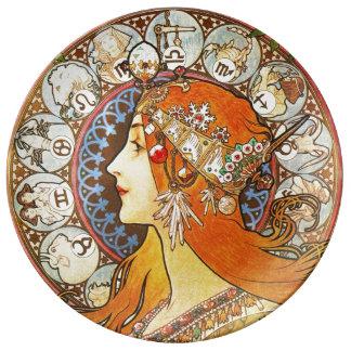 Alphonse Mucha La Plume Zodiac Art Nouveau Vintage Porcelain Plate