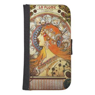 Alphonse Mucha La Plume Zodiac Art Nouveau Vintage Samsung S4 Wallet Case