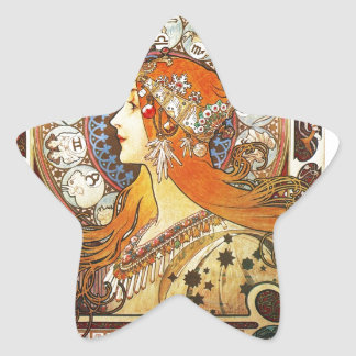 Alphonse Mucha La Plume Zodiac Art Nouveau Vintage Stickers