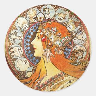 Alphonse Mucha La Plume Zodiac Art Nouveau Vintage Round Sticker