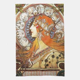 Alphonse Mucha La Plume Zodiac Art Nouveau Vintage Tea Towel
