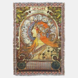 Alphonse Mucha La Plume Zodiac Art Nouveau Vintage Throw Blanket