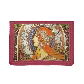 Alphonse Mucha La Plume Zodiac Art Nouveau Vintage Tri-fold Wallet