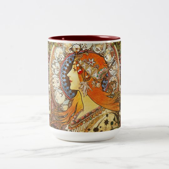 Alphonse Mucha La Plume Zodiac Art Nouveau Vintage