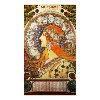 Alphonse Mucha La Plume Zodiac Business Card