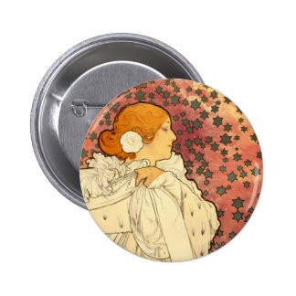 Alphonse Mucha Lady of the Camelias Button