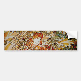 Alphonse Mucha - Lady with a Daisy Bumper Sticker