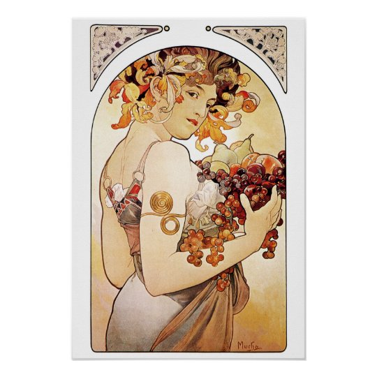 Alphonse Mucha Lady With Fruit Wall Poster
