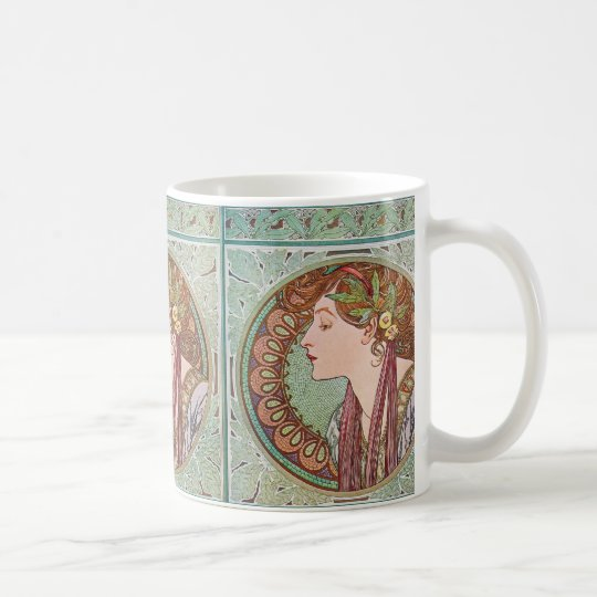 Alphonse Mucha Laurel Art Nouveau Coffee Tea Mug