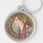 Alphonse Mucha Laurel Art Nouveau Key Chain