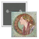 Alphonse Mucha Laurel Art Nouveau Square Button