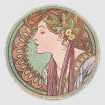 Alphonse Mucha Laurel Art Nouveau Stickers