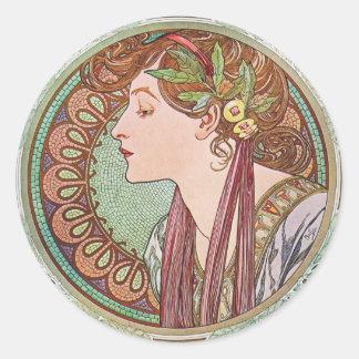 Alphonse Mucha Laurel Art Nouveau Stickers