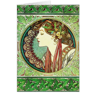 Alphonse Mucha Laurel Note Card