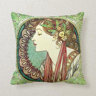 Alphonse Mucha Laurel Pillow