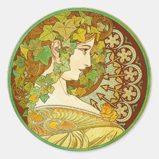 Alphonse Mucha Laurel Stickers