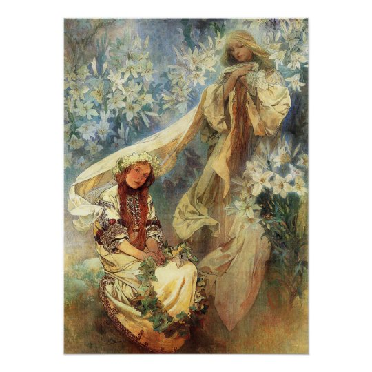 Alphonse Mucha Madonna of the Lilies Poster