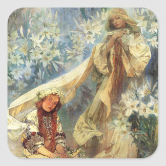 Alphonse Mucha Madonna of the Lilies Stickers