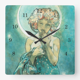 Alphonse Mucha Moonlight Clair De Lune Art Nouveau Square Wall Clock