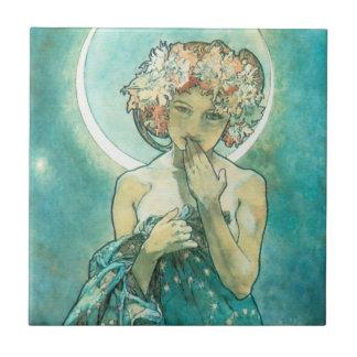 Alphonse Mucha Moonlight Clair De Lune Art Nouveau Tile