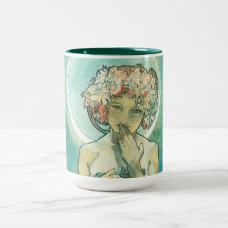 Alphonse Mucha Moonlight Clair De Lune Art Nouveau Two-Tone Coffee Mug