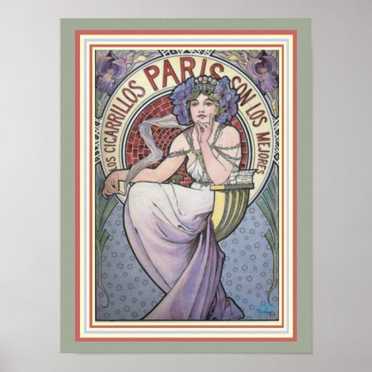 Alphonse Mucha Paris Cicarrillos Poster 12 x 16
