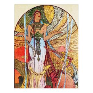 Alphonse Mucha Peacock art Postcard
