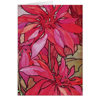 Alphonse Mucha Poinsettias Christmas Card Template