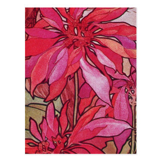Alphonse Mucha Poinsettias Christmas Postcards