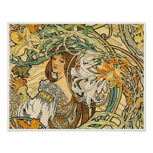 Alphonse Mucha Poster: Language of Flowers Poster