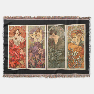 Alphonse Mucha Precious Stones Rugs Throw Blanket