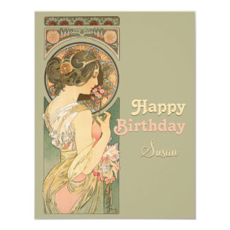 Alphonse Mucha Primrose CC0638 Birthday Greeting Card