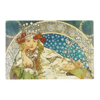 Alphonse Mucha Princess Hyacinth Art Nouveau Laminated Placemat