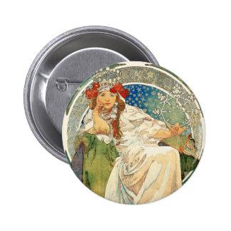 Alphonse Mucha Princess Hyacinth Button