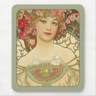 Alphonse Mucha Rêverie Daydream CC0155 Art Nouveau Mouse Mat
