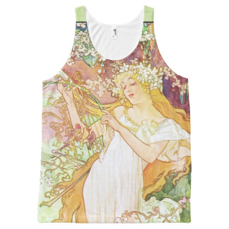 Alphonse Mucha Spring Floral Vintage Art Nouveau All-Over Print Tank Top