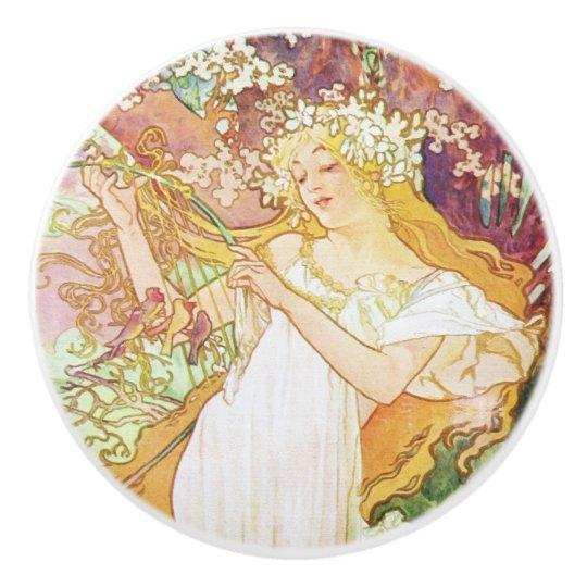 Alphonse Mucha Spring Floral Vintage Art Nouveau Ceramic