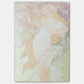 Alphonse Mucha Spring Floral Vintage Art Nouveau Post-it Notes