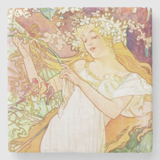 Alphonse Mucha Spring Floral Vintage Art Nouveau Stone Coaster
