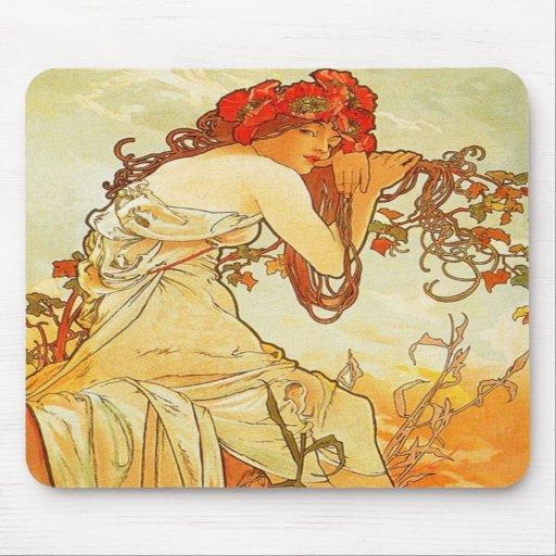 Alphonse Mucha Summer Mouse Pad